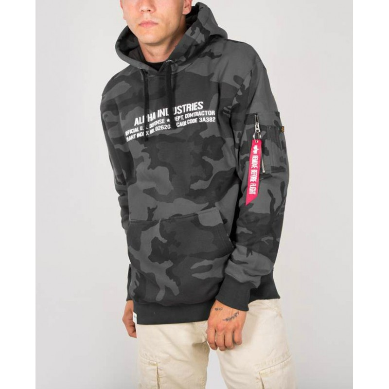 Pulover s kapuco ALPHA INDUSTRIES Cargo Rubber Print Hoody