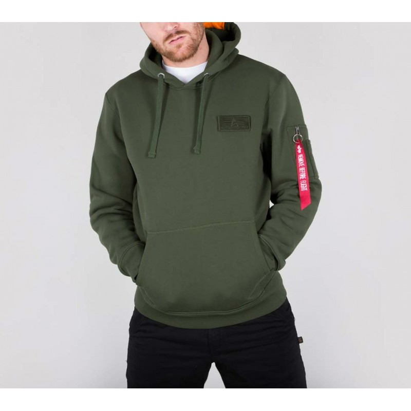Pulover s kapuco ALPHA INDUSTRIES Red Stripe Hoody Oliven