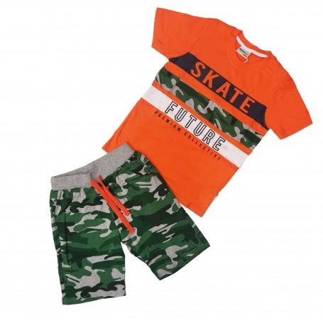 Otroški komplet kratke hlače & kratka majica BOUNY 4-12 let / oranžna b.