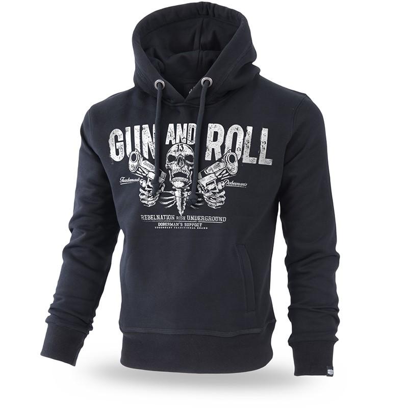 Pulover s kapuco Dobermans Aggresive Gun and Roll Črn BK192
