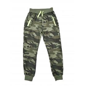 Otroške hlače - trenirka - Army Neon nepodložene 8-16