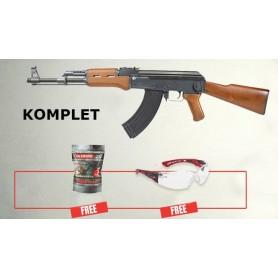 Električna replika Kalashnikov AK-47 - KOMPLET (BB metki + zaščitna očala)