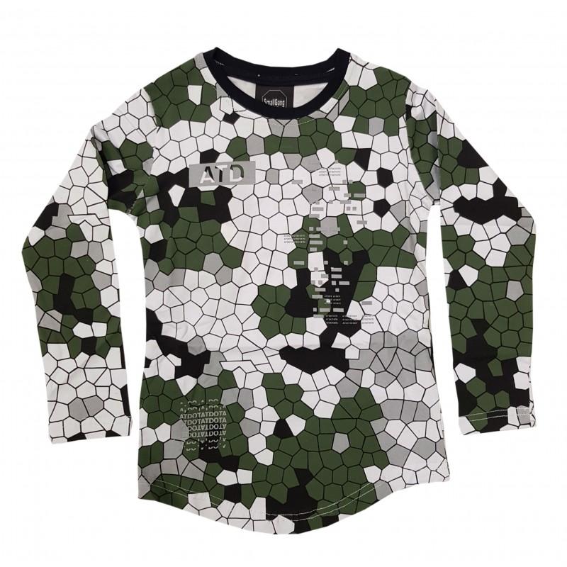 Otroška majica ATD olivno belo siva / 3-4