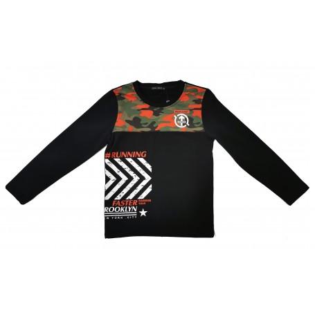 Otroška majica dolg rokav Small Gang podložena / črna 4-12 let