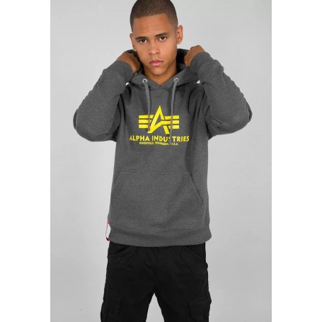 Pulover s kapuco ALPHA INDUSTRIES Basic Hoody Charcoal heather