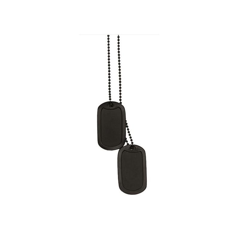 Vojaška verižica DOG TAG črna + gumica