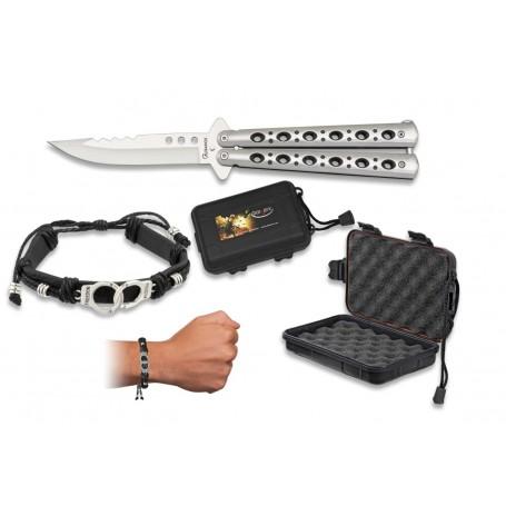 3 delni set Butterfly nož + zapestnica + škatla 39060