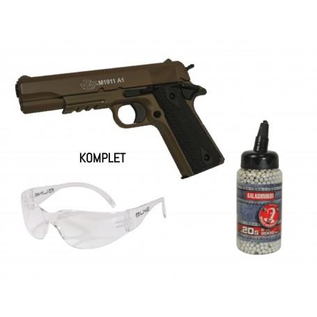 KOMPLET - COLT 1911 METAL SLIDE  vzmetna replika + 0,20 BB + očala