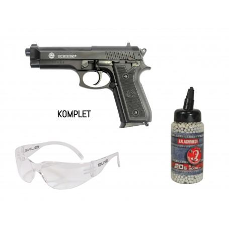 KOMPLET - PT 92 SPRING METAL SLIDE vzmetna replika + 0,20 BB + očala